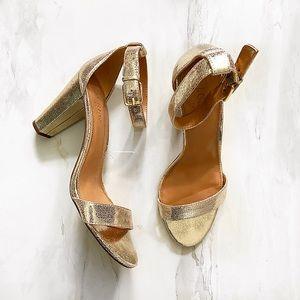 J. Crew Golden Metallic Ankle Strap Heels